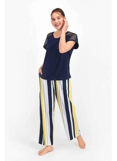 Arnetta Striped Lacivert Kadın Kısa Kol Pijama Takımı Lacivert